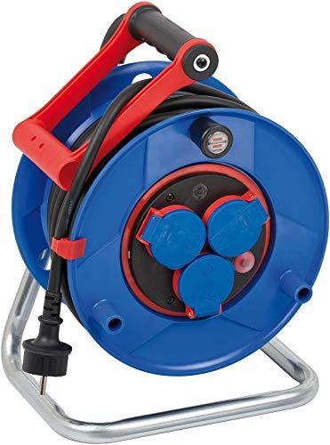 Brennenstuhl Garant Bretec IP44 Kabelhaspel, voor bedrijfsmatig gebruik, 25 m, speciaal kunststof, voor gebruik op bouwplaatsen en continu gebruik buitenshuis, Made in Germany, blauw