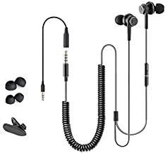 Avantree Long Cord Headphones for TV, 12ft / 3.6m Extension Cable Earphones Ear Buds for PC, 3.5mm Audio Output, Metal Stereo in-Ear Wired Bass Headset with Spring Coil Wire - HF027