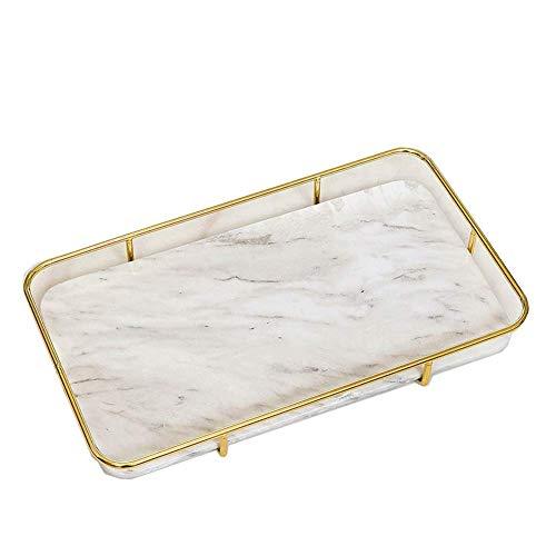 Modern minimalistisch marmer ijzeren dienblad, woonkamer salontafel decoratie, huis decoraties opslag Retro size Kleur: wit