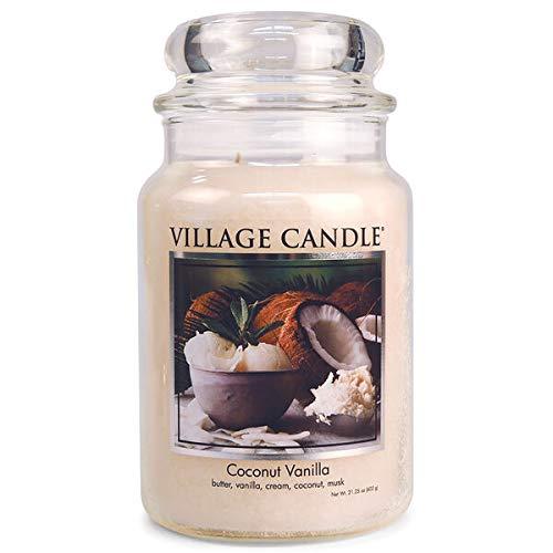 Village Candle - Candela profumata al cocco, vaniglia, in vetro, grande, 602,4 g, colore: Bianco