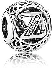 La Menars Vintage Charm Stile Vintage con Lettera dell'alfabeto, con Zirconia cubica Trasparente, Compatibile con bracciali Pandora ed Europei e Argento