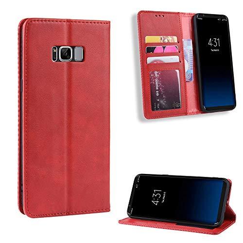 Snow Color Galaxy S8 Hülle, Premium Leder Tasche Flip Wallet Case [Standfunktion] [Kartenfächern] PU-Leder Schutzhülle Brieftasche Handyhülle für Samsung Galaxy S8/G950F - COBYU010245 Rot