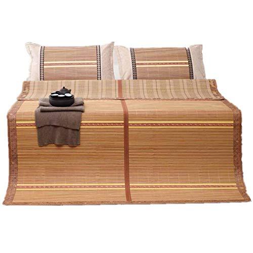 Kyman Sommerschlafmatte, Sommer Matte Bambusmatte 0,9 doppelseitige Bambus Falten dreiteilige Wendematte, 1.8m (Size : 1.8m)