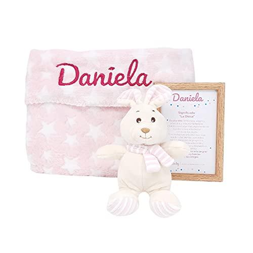 Mi Ilusión Mabybox – Canastilla para bebé personalizada con peluche conejito mantita...