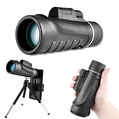 IVSUN Monocular Telescope for Smartphone 12X42 High Power Prism BAK4 Waterproof HD Monocular with Tripod/Phone Clip ETC for Bird Watching, FMC Multi-Coated Zoom Lens Hunting/Camping/Hiking