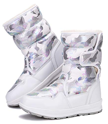 DADAWEN Girl's Boy's Waterproof Outdoor Cold Weather Snow Boots (Toddler/Little Kid/Big Kid) White US Size 4 M Big Kid