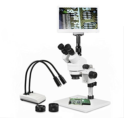 """Parco Scientific Simul-Focal Trinocular Zoom Stereo Microscope, 10x WF, 3.5X—90x Magnification, 0.5X & 2X Aux Lens, Pillar Stand, LED Gooseneck Dual Light, 11.6"""" Retina HD Display with 5MP Camera"""
