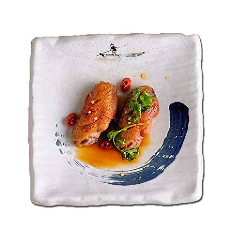 LXX-プレート セラミックヴィンテージ和風長方形寿司プレートスナックデザートデザートケーキトレイ (Color : A)