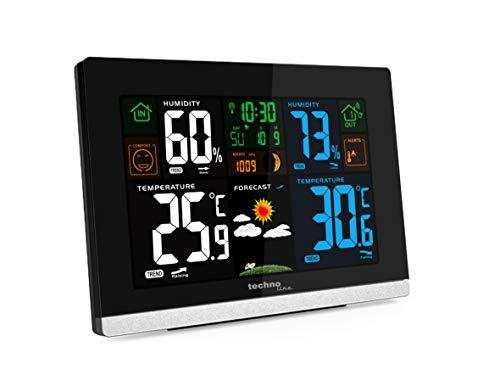 Technoline WS 6462 Funkwetterstation, Innentemperatur, Außentemperatur, Luftfeuchte, Luftdruck, Tendenzanzeige, Taupunkt, Farbdisplay, Funkuhr, Mondphasen hochglanz-schwarz,quer