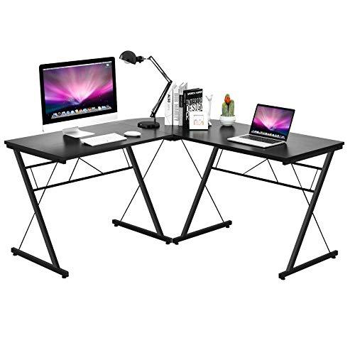 COSTWAY L-Form Computertisch Schreibtisch Computerschreibtisch Bürotisch Ecktisch Winkelschreibtisch 150x150x76cm (Schwarz)