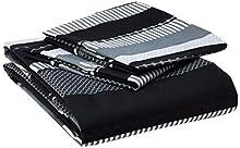Rapport Striped Grey King Quilt Funda nórdica y 2 Juego de cama con funda de almohada Adultos Adolescentes, algodón y poliéster