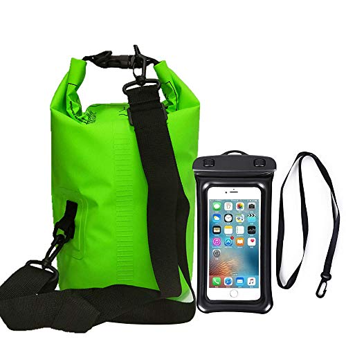 10L Waterproof Drying Bag, Adjustable Shoulder Strap Water Drifting Bucket Bag + Oversized Waterproof Phone Case, Suitable for Kayaking/Boating/Canoeing/Fishing (Green)