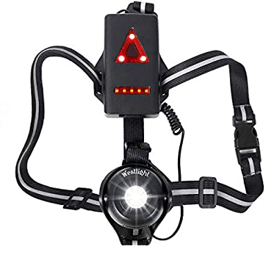 Running Light Reflective Gear, Bright Waterproof LED Safety Light with Red Taillights, USB Rechargeable 500 Lumens,Adjustable Strap with High Visibility for Night Runners Jogging Dog Walking