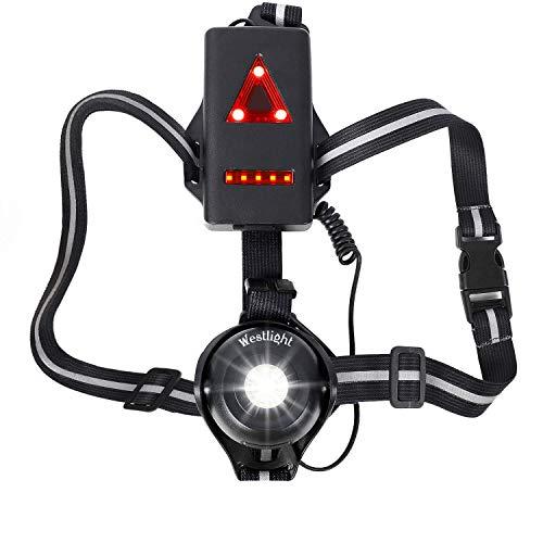 WESTLIGHT Lauflicht, wiederaufladbare USB LED Lauflampe Sport, wasserdicht, leichtgewichtige Lampe zum Laufen, 500 Lumen, Einstellbarer Abstrahlwinkel, perfektes Licht zum Joggen, Angeln,Campen Kinder