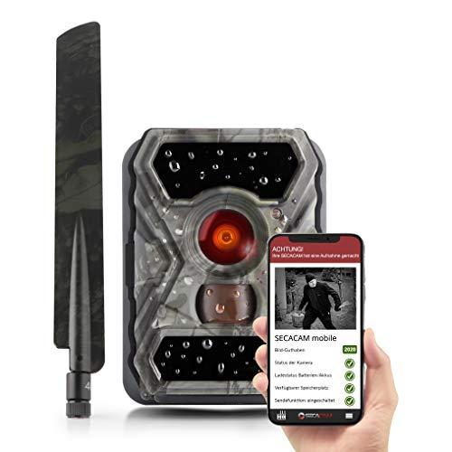 SECACAM HomeVista Mobile - Wildkamera mit SIM-Karte sendefähig (4G/LTE, Edge) mit Handy-Übertragung & App (Weitwinkel 100°)