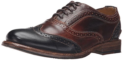 bed stu Women's Lita Tuxedo Oxford, Teak/Black Rustic Rust Leather, 8 M US
