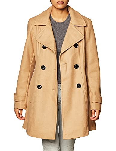 Anne Klein womens Classic Double-breasted Pea Coat, Camel, Large US