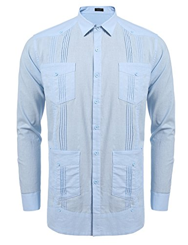 COOFANDY Men's Long Sleeve Guayabera Cuban Shirt Casual Button Down Cotton Linen Shirt Light Blue