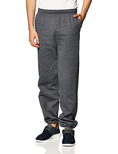 Gildan Men's Fleece Elastic Bottom Pocketed Pant, Dark Heather, X-Large