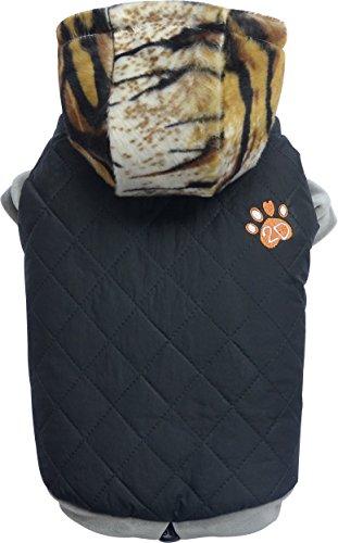 Doggydolly W339 Caviar, hochwertiger, sportlich, eleganter Hundemantel/Hundejacke mit Kapuze, Stickerei 2D Pfote, wasserabweisend, verstellbar, S