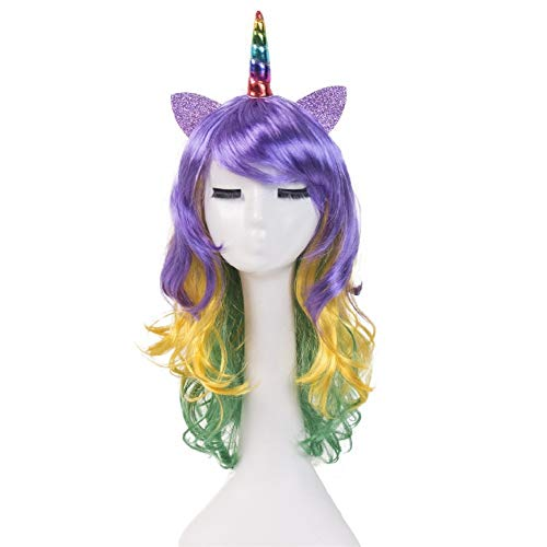 Omber Unicorn Horn Wig with Ears for Women Long Curly Wavy Synthetic Hair Wigs Halloween Party Cosplay,Violet