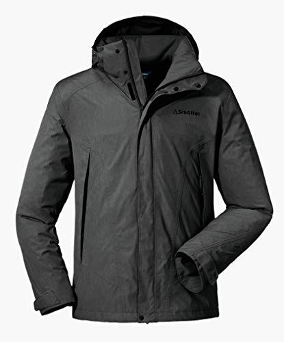 Schöffel Jacket Easy M3, wasser- und winddichte Allwetterjacke für Männer, leichte und atmungsaktive Herren Regenjacke Herren, asphalt, 54