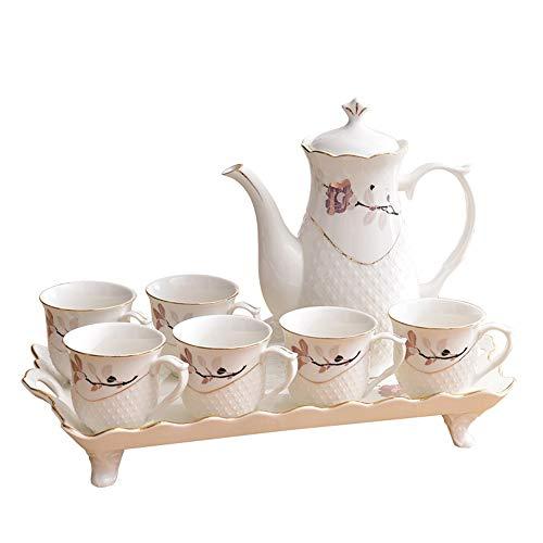 8PCS CeramicWhite Household Oro Disegno Soggiorno Water Cup Set Coffee Cup Tea Set con supporto (Color : White)