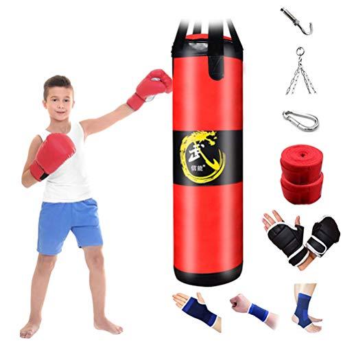 CXSMKP Saco De Boxeo Hueco Adecuado para El Boxeo Sanda Taekwondo, Los Hijos Adultos De Boxeo Equipo De Entrenamiento De La Bolsa De Arena, Colgando Ángulo De Rotación Completa,80cm