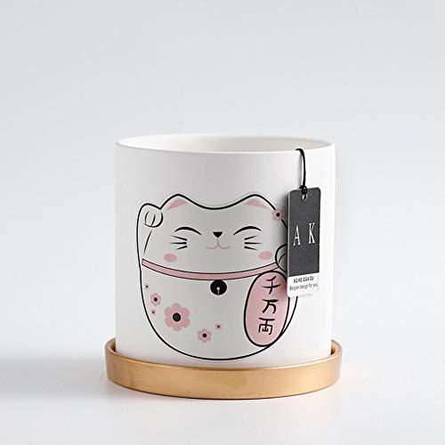 Bcaer Maceta de cerámica simple literaria cerámica redonda cuenca personalidad gato suerte flor/verde plantador con agujeros con bandeja Macetas modernas minimalista carnoso