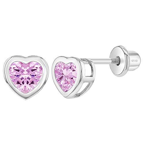 In Season Jewelry - Orecchini a vite per bambina, in argento Sterling 925, con zirconi a forma di cuore e Argento, colore: Pink, cod. SS-03-00073