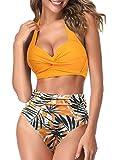 AOQUSSQOA Frauen Zweiteilige Tankini Badeanzüge High Waist Halfter Vintage Bikini Set Damen Bademode (Sunflower Yellow, L)