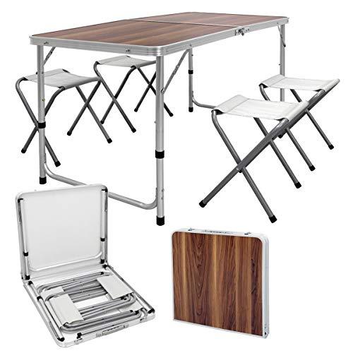 ECD Germany Campingtisch Set mit 4 Hocker - 120 x 60 x 55/63/70 cm höhenverstellbar - klappbar - Holzdekor - aus Aluminium und MDF - Campingmöbel Set Klappmöbel Klapptisch Falttisch