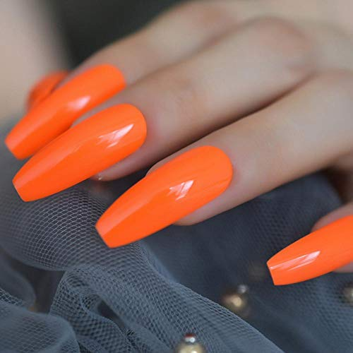 TJJF Faux ongles Hot Neon Orange Long Coffin Nails Incroyable Glossy Uv Cover Extra Long Ballerina Fake Nails 24 Ct