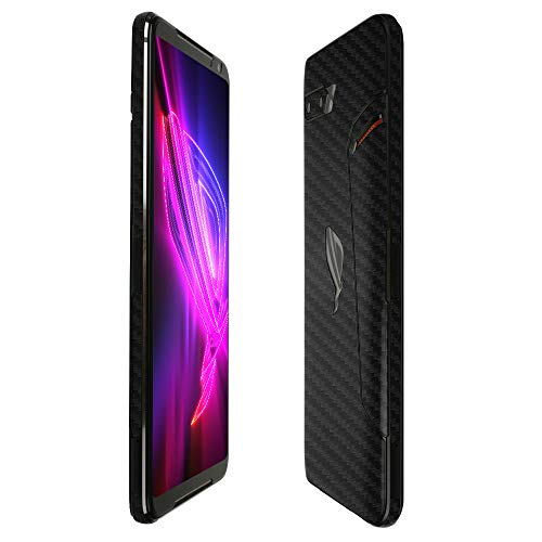 Skinomi Black Carbon Fiber Full Body Skin Compatible with ASUS ROG Phone 2 (2019)(Full Coverage) TechSkin with Anti-Bubble Clear Film Screen Protector