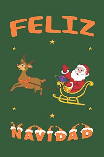 """Feliz Navidad Rentier Schlitten: Personalisiertes Notizbuch (6"""" x 9"""" ~ DinA5) 120 linierte Seiten Tagebuch / Poesiealbum mit niedlichem Weihnachtsmotiv"""