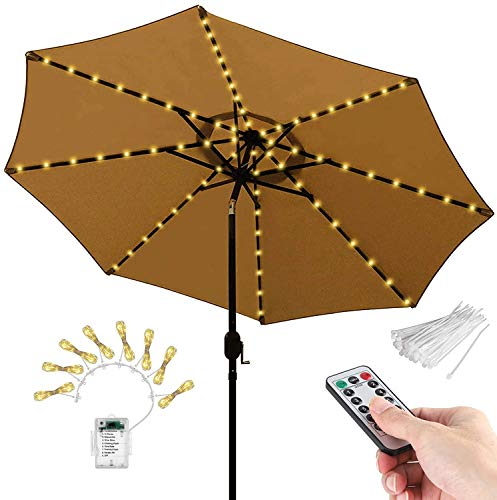 CMCQ Patio Umbrella Lights,Parasol String Lights with Remote Control Waterproof 8 Mode LED Umbrella Pole Curtain Fairy Lights Battery Operated