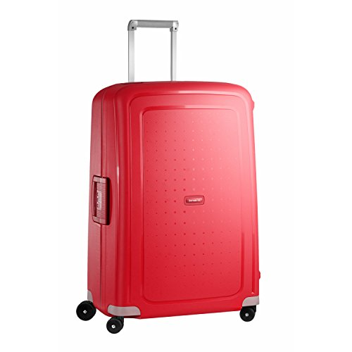 Samsonite S'Cure Hardside Luggage with Spinner Wheels, Crimson Red, Checked-Large 28-Inch