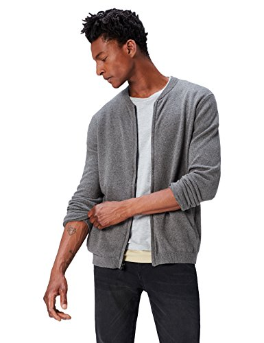 Amazon-Marke: find. Herren Bomber Phrm Strickjacke, Grau (Charcoal Grey Marl), XL, Label: XL