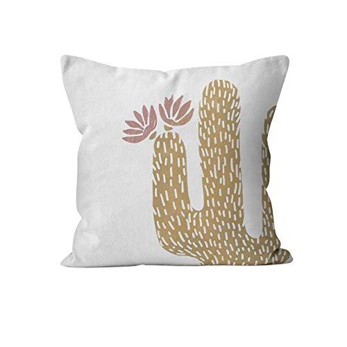 43LenaJon Fundas de almohada de lino de algodón, camello y rosa polvorienta tótem, cactus y flores, funda de almohada de mostaza suculenta
