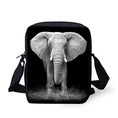 Nopersonality Lässige Schulter-Handtaschen, kleine Umhängetasche, Kuriertasche für Frauen, Grau - elefant - Größe: Small