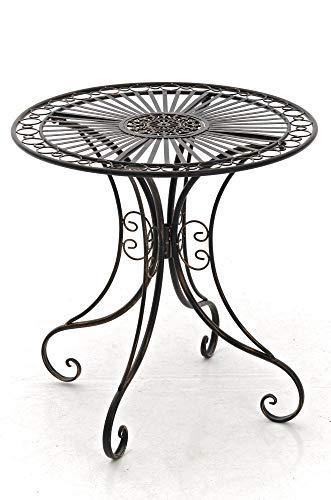 CLP Tavolino in Ferro Giardino Hari I Tavolino Tondo Outdoor Stile Rustico I Tavolino Salotto Design, Colore:Bronzo
