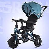Zhuowei Triciclo 6 en 1 Triciclo Infantil para bebés y niños pequeños con Push Directivo Bar con neumáticos de Caucho y silencioso Toldo para niños y niñas de 12 Meses - 5 años,4