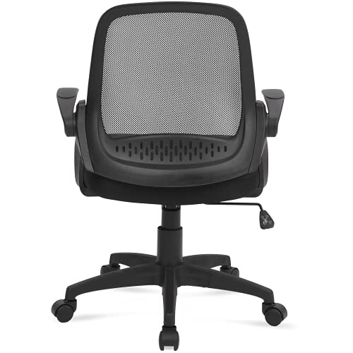 Silla de oficina pequeña silla de escritorio moderna silla de trabajo giratoria con soporte lumbar ajustable, función de inclinación ajustable, reposabrazos, altura del asiento, tela
