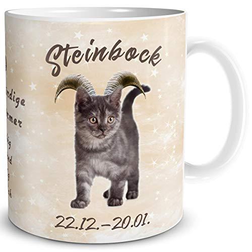 TRIOSK Tasse Katze lustig mit Spruch Sternzeichen Steinbock Katzenmotiv Geschenk für Katzenliebhaber Geburtstag Frauen Freundin