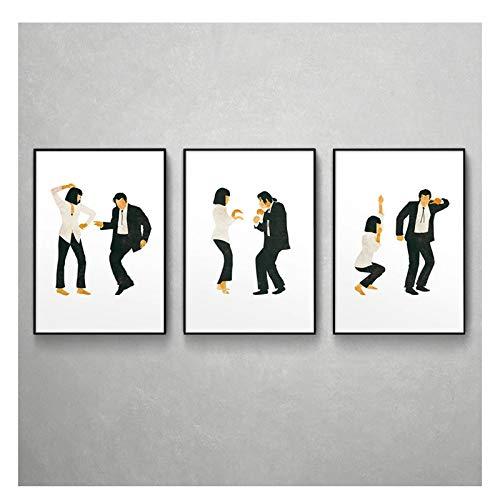 AZTeam Pulp Fiction Poster Kunstdruck Klassischer Film Jack Rabbit Dance Poster Minimalistische Wandkunst Leinwand Malerei Wandbild Wohnkultur -50X70Cmx3Pcs No Frame