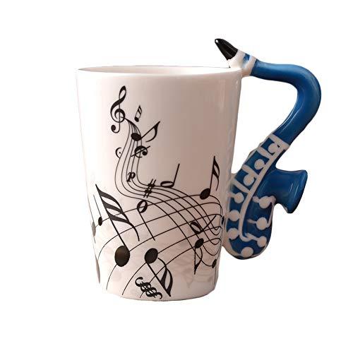 Acyoung Keramik Kaffeetasse, Gitarre Henkel Porzellan Tasse Musik-Note Bedruckt Teetasse Geschenk Kaffeebecher Für Musiklieber Ø7,5 H10cm, 250ml (Saxophon)