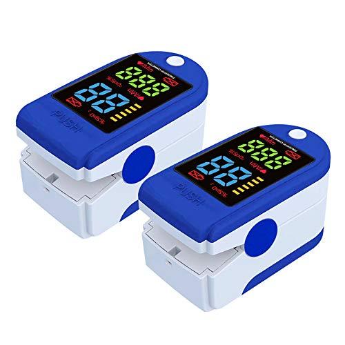 2 Stk Puls-oxi-mater für die Fingerspitze, Herzfrequenz-messer mit LED-Bildschirmanzeige (Blau)