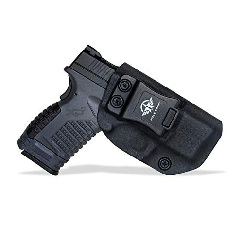 """Kydex IWB Holster for Springfield XD-S 3.3"""" 9mm .40 S&W .45 ACP Single Stack Pistol Case Inside Waistband Carry Concealed Holster Springfield XD S Guns Accessories Pouch Bag (Black, Right Hand Draw)"""