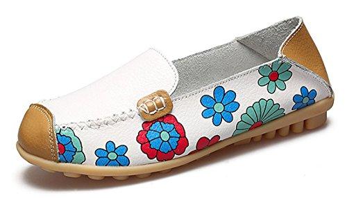 Mujer Mocasines de Cuero Moda Loafers Casual Zapatos de Conducción Zapatillas del Barco Cómodos Planos Sandalias para Caminar