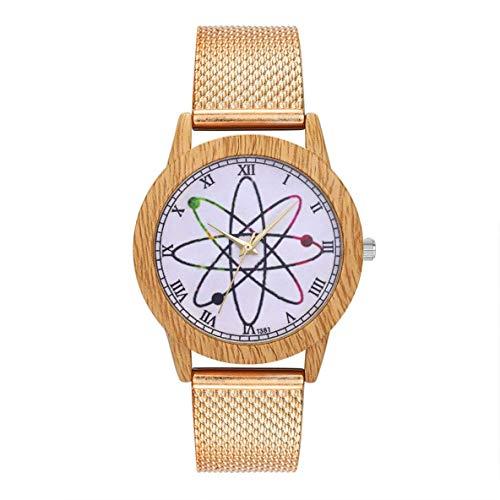 XIANGAI Exquisito Única de Cuarzo con Encanto de Moda Casual de Las señoras del Reloj Redondo Grande Reloj de Pulsera Accesorios de la joyería DecorationT381-F, Color: Plata (Color : Rose Gold)